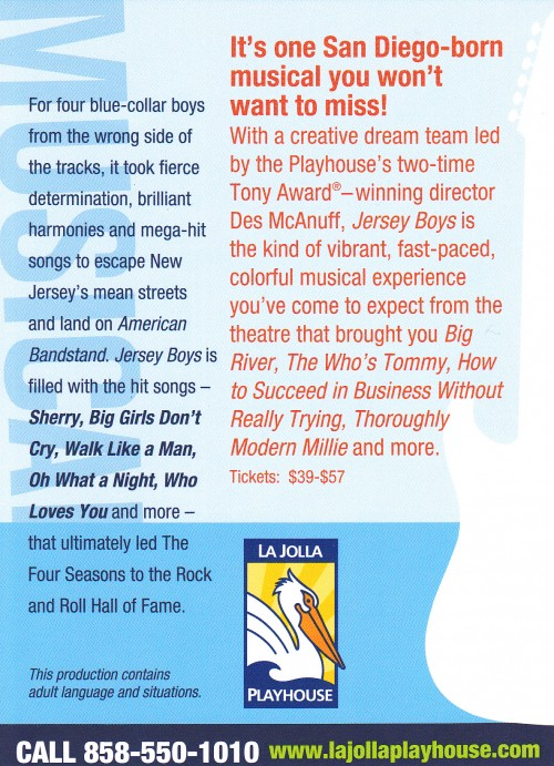 La Jolla Jersey Boys Card Back