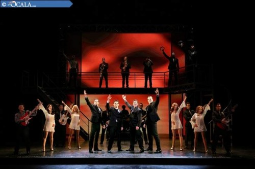 "Drew Seeley, from left, Hayden Milanes, Matthew Dailey and Keith Hines join the company of ""Jersey Boys"" in a scene from the musical (Photo Credit: Jeremy Daniel)."