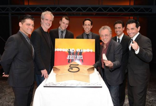 "Deven May, Bob Gaudio, Rob Marnell, Jeff Leibow, Frankie Valli, Graham Fenton and Travis Cloer celebrate the fifth anniversary of ""Jersey Boys"" in Las Vegas on Thursday, March 21, 2013 (Photo Credit: Denise Truscello)"