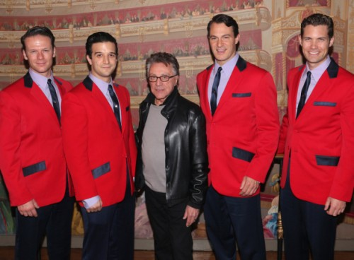 Frankie Valli hands out with the current cast of Jersey Boys: Nicholas Dromard, Mark Ballas, Matt Bogart, and Drew Seeley. (© David Gordon)
