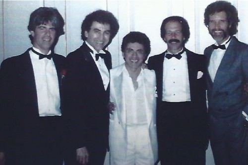 Sandy Linzer, Joe Long, Frankie Valli, Michael Petrillo, and Bob Gaudio at Frankie Valli's wedding